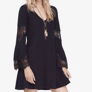 NWOT Express Black Dress Lace Bell Sleeves S